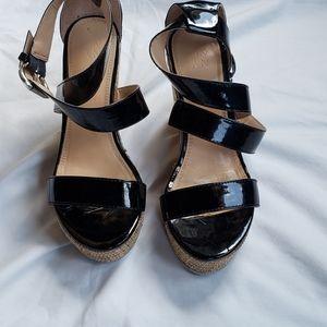 NY&CO Women's Black Wedge Platform Sandals